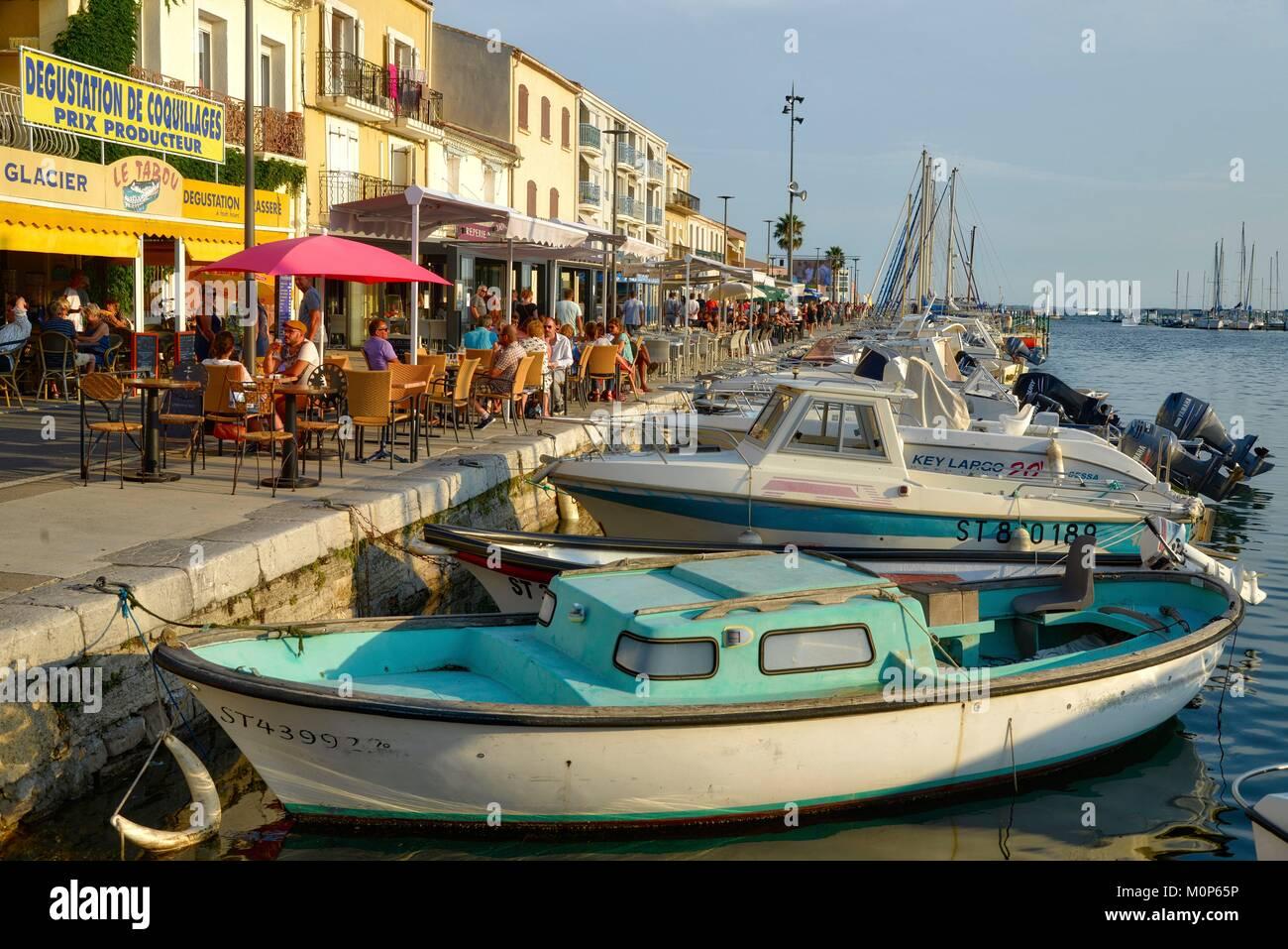 France,Herault,Meze,lagoon of Thau,marina,Café terrace on a quay - Stock Image