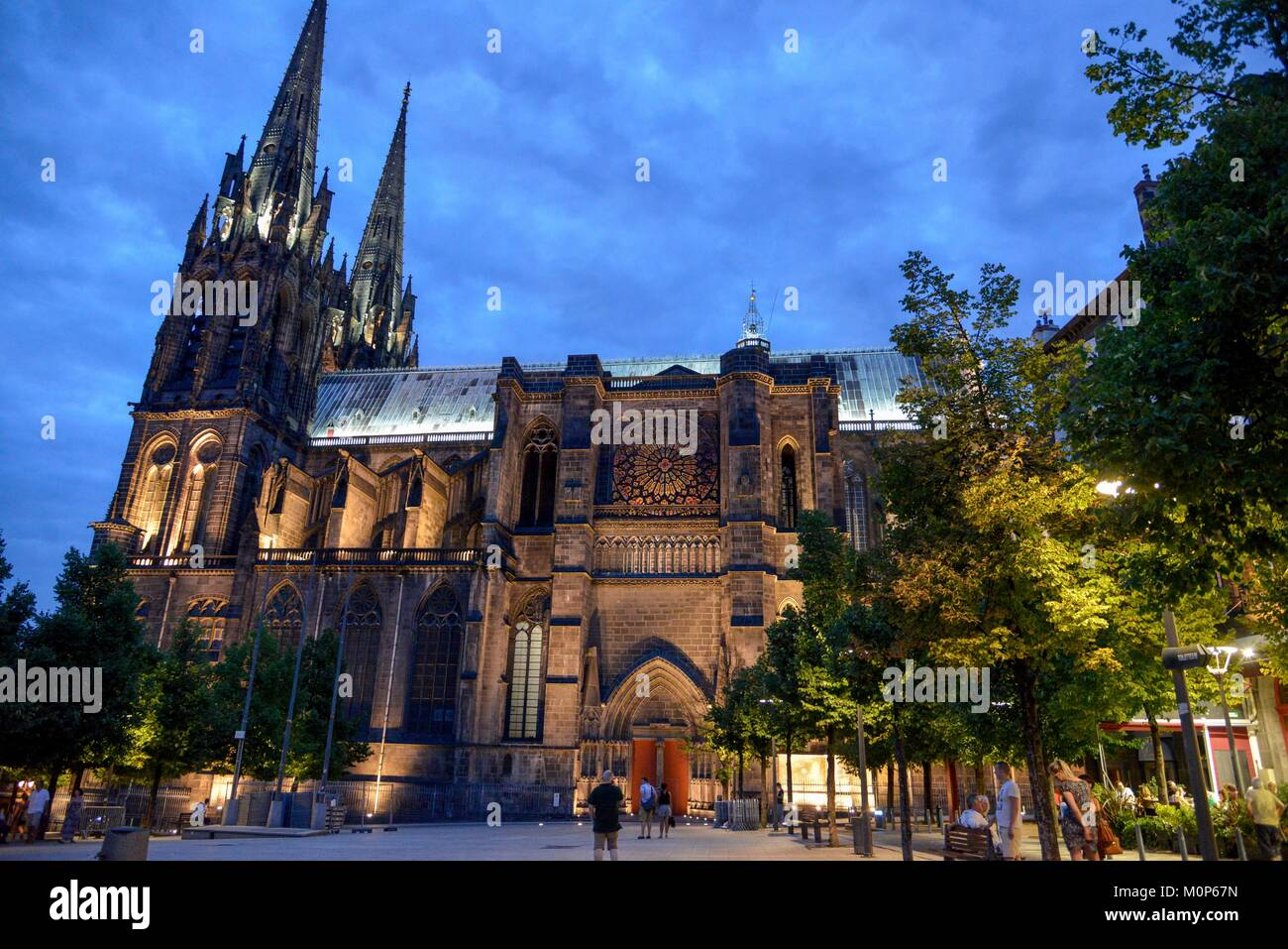France,Puy de Dome,Clermont Ferrand,Place of Victoire,esplanade at dusk with the Cathedral Notre Dame de l'Assomption Stock Photo