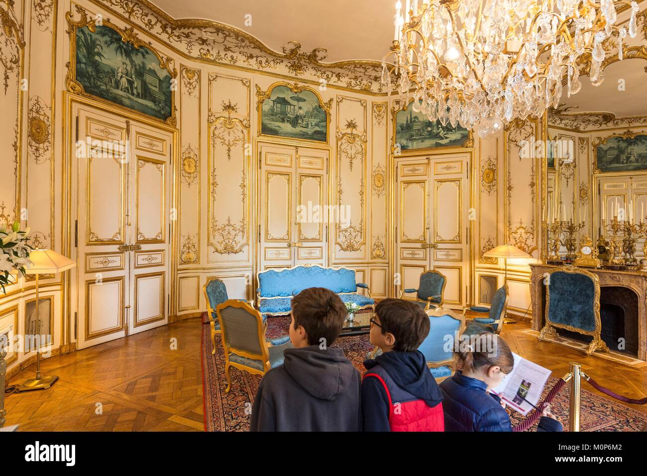 France,Paris,Heritage Days 2017,Hotel de Matignon,Prime Minister's Office,children visiting the Blue Room - Stock Image
