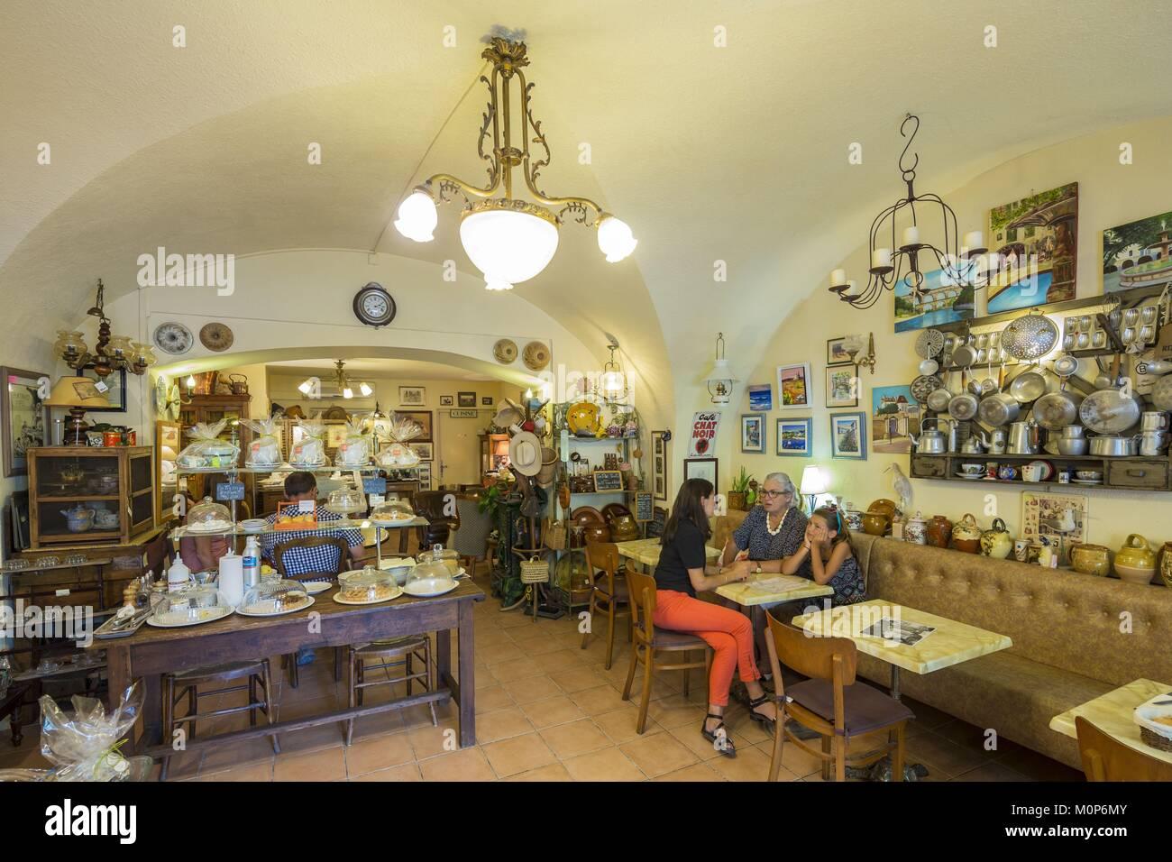 France,Gard,Uzes,restaurant,tea Room la Trop'uzienne - Stock Image