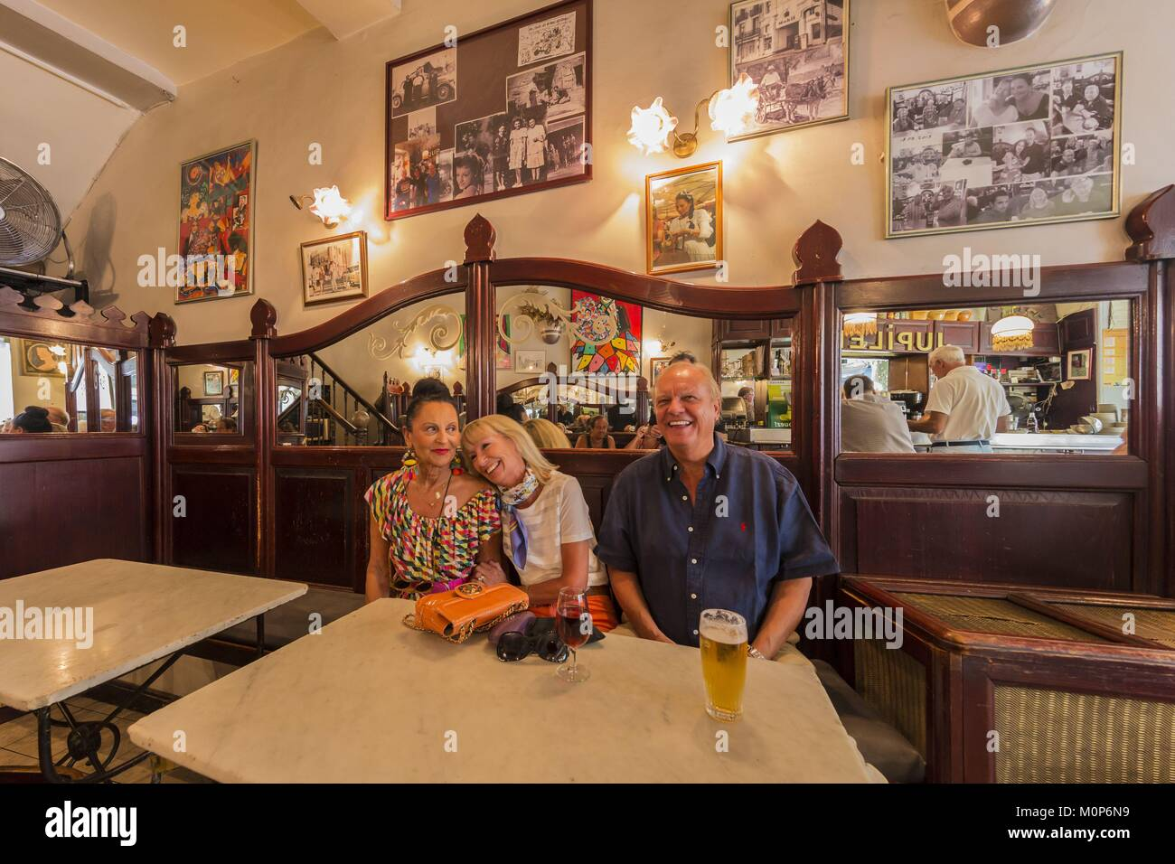 France,Gard,Uzes,the Cafe de l'Hotel boulevard des Allies - Stock Image