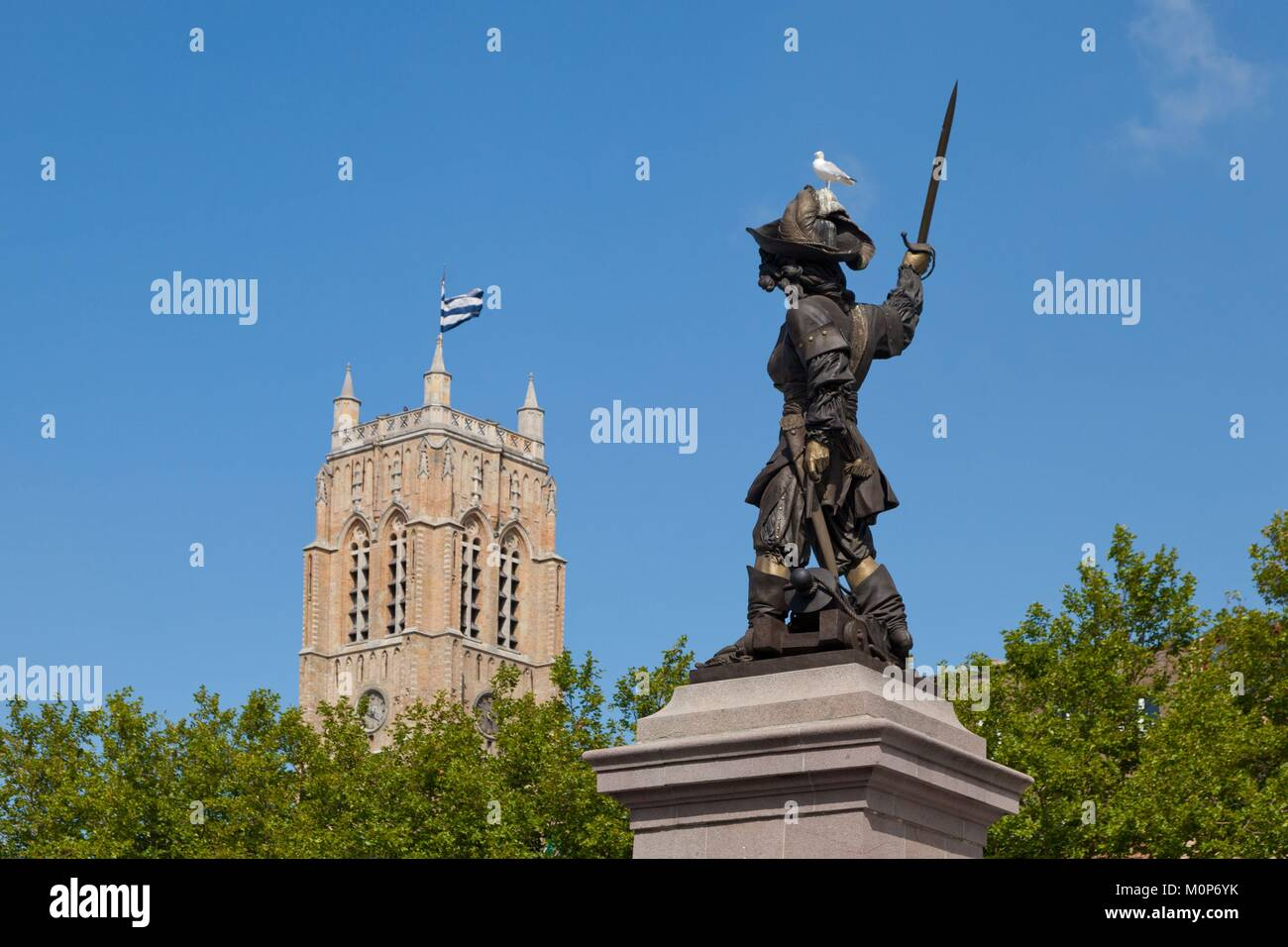 France,Nord,Dunkirk,statue of Jean Bart,Background Saint Eloi belfry listed as World Heritage by UNESCO Stock Photo