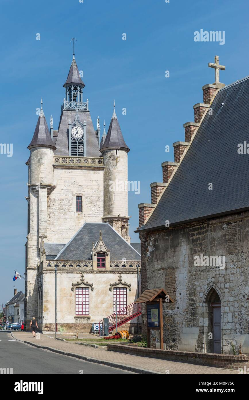 France,Somme,Rue,15th century belfry,a UNESCO World Heritage site - Stock Image