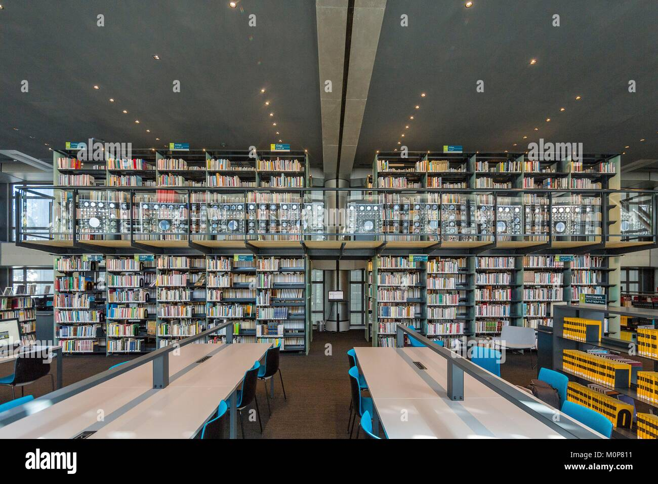 France,Paris,Institut du Monde Arabe (IMA),designed by the architects Jean Nouvel and Architecture-Studio,the library - Stock Image