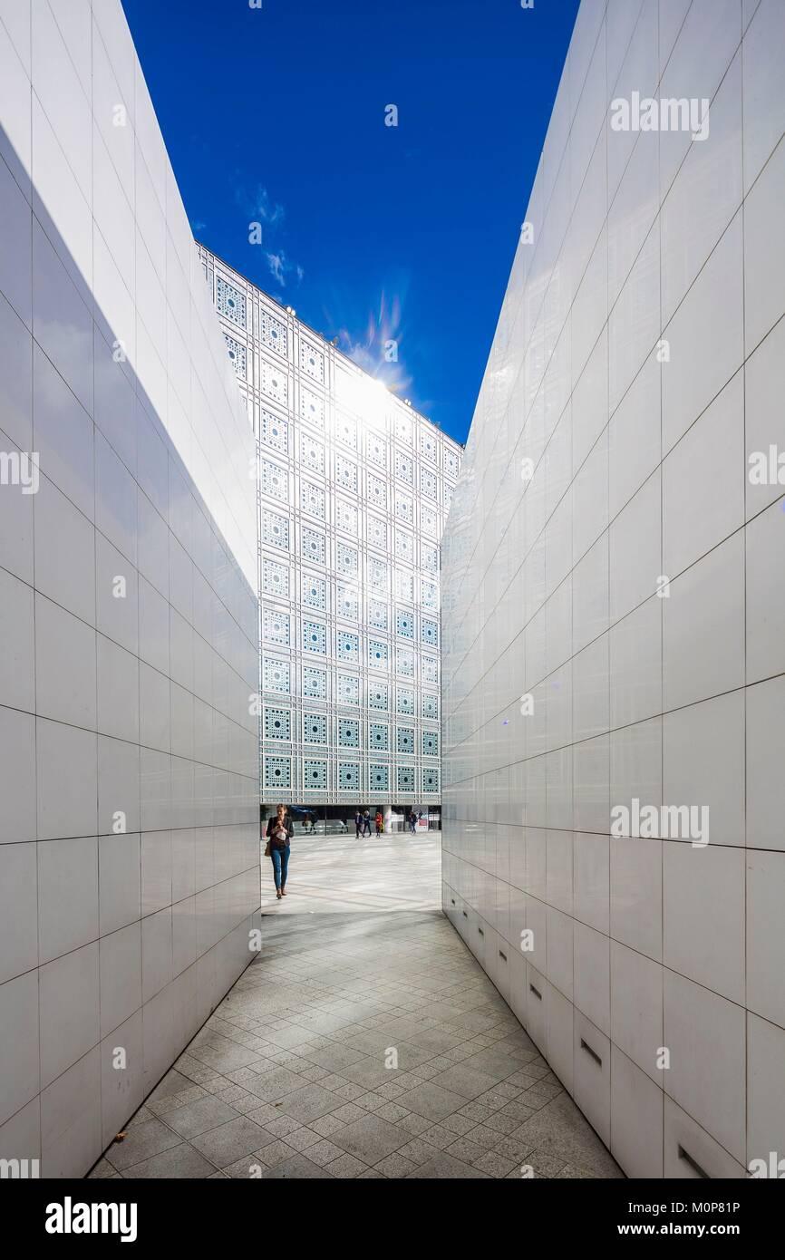 France,Paris,Institut du Monde Arabe (IMA),designed by the architects Jean Nouvel and Architecture-Studio - Stock Image