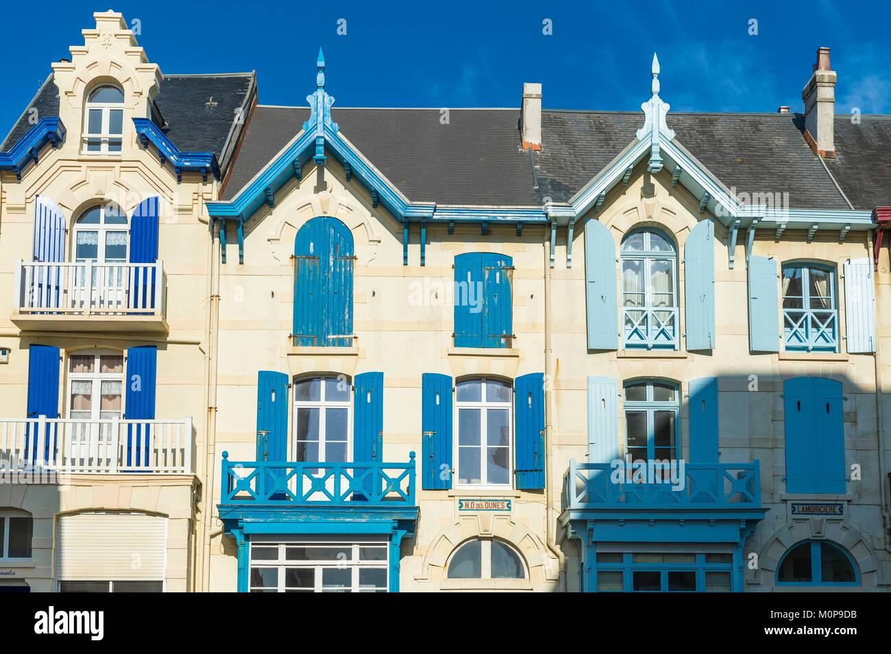 France,Pas-de-Calais,Wimereux,seaside resort on the Opale Coast,Belle Epoque villas - Stock Image