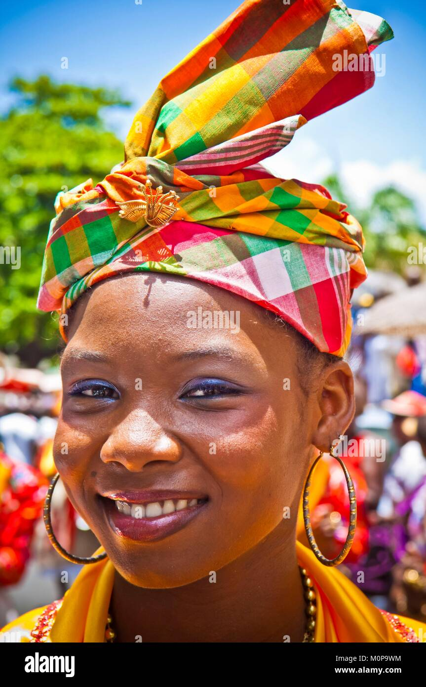 France,Caribbean,Lesser Antilles,Guadeloupe,Grande-Terre,Pointe-à-Pitre,Cookers' Day,Creole girl dressed - Stock Image