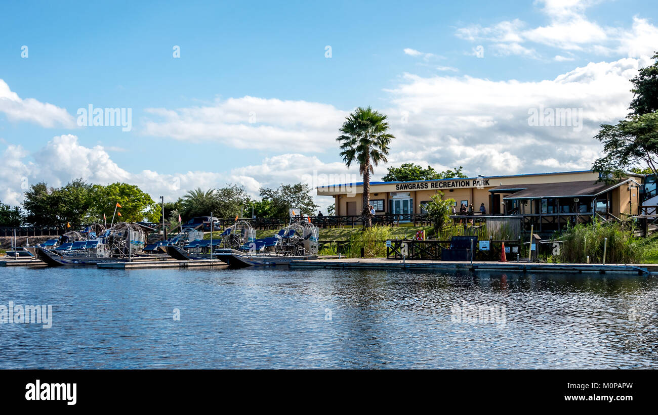 Sawgrass Recreation Park airboats and gift shop in Florida Everglades, a popular tourist destination for those visiting - Stock Image