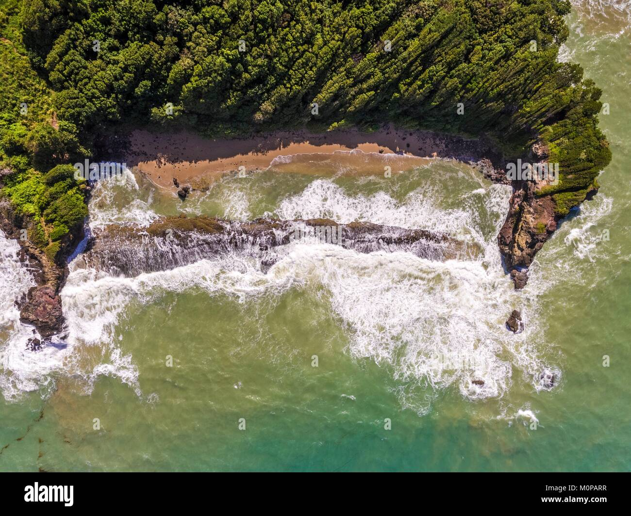 France,Caribbean,Lesser Antilles,Guadeloupe,Basse-Terre,Sainte-Rose,aerial view on Cluny beach (aerial view) - Stock Image