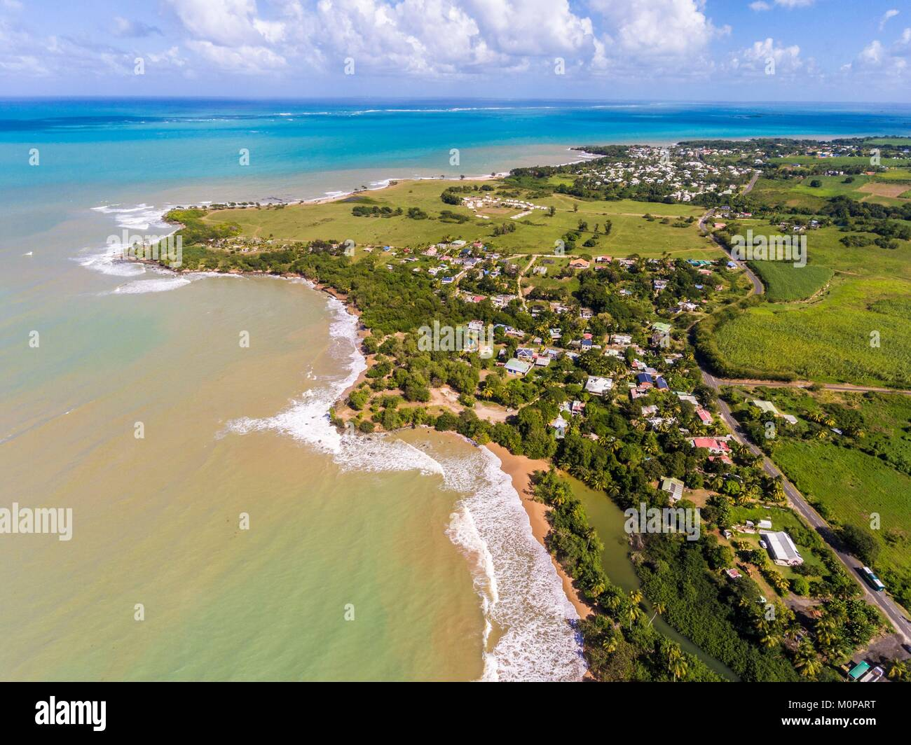 France,Caribbean,Lesser Antilles,Guadeloupe,Basse-Terre,Sainte-Rose,aerial view of Cluny beach and Grand Cul-de - Stock Image