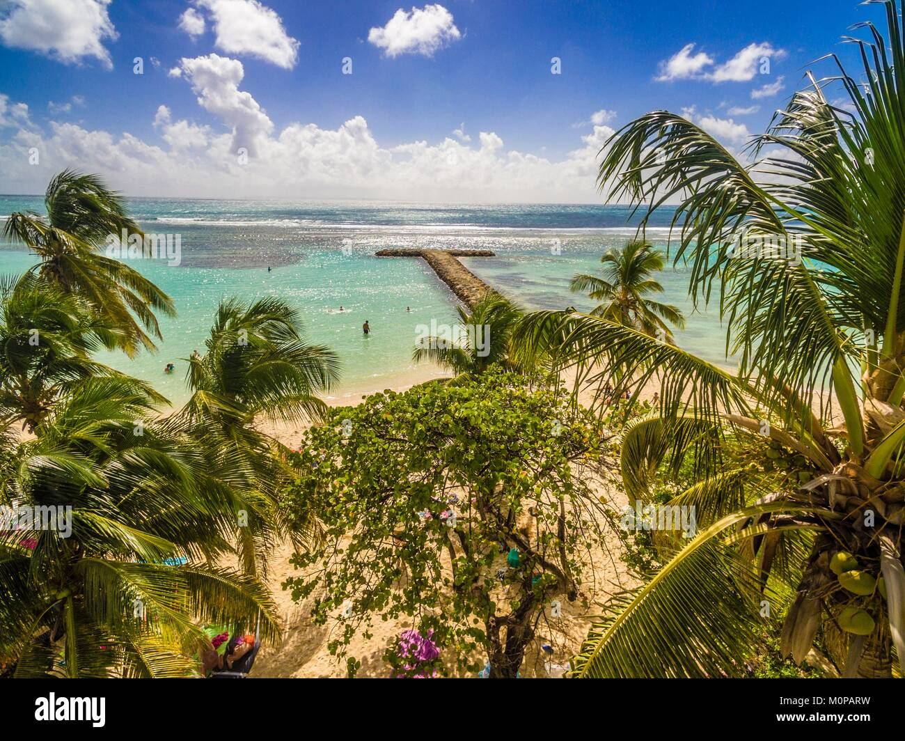 France,Caribbean,Lesser Antilles,Guadeloupe,Grande-Terre,Sainte Anne,aerial view of the municipal beach and its - Stock Image