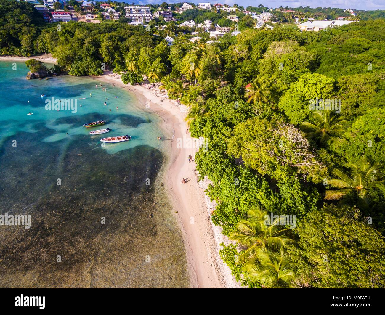 France,Caribbean,Lesser Antilles,Guadeloupe,Grande-Terre,Le Gosier,aerial view on the beach of Petit Havre (aerial - Stock Image