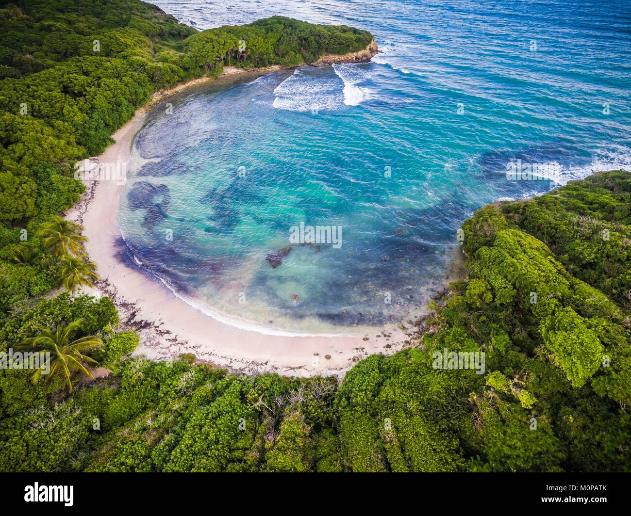 France,Caribbean,Lesser Antilles,Guadeloupe,Grande-Terre,Le Gosier,aerial view on the beach of Anse à Jacques - Stock Image