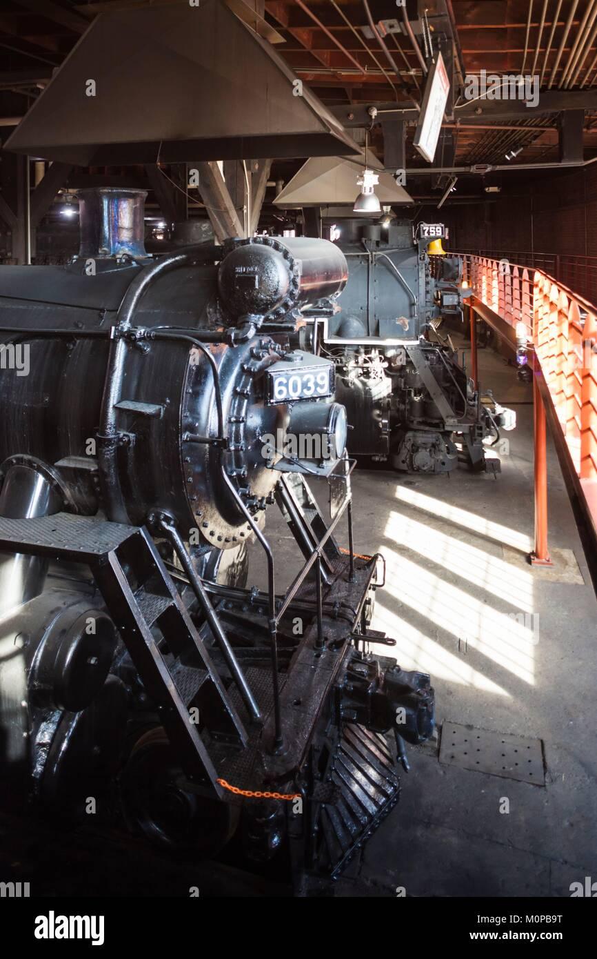 United States,Pennsylvania,Scranton,Steamtown National Historic Site,steam-era locomotive - Stock Image