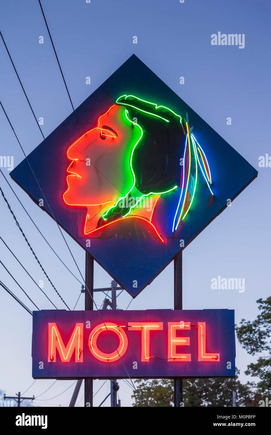 United States,New York,Adirondack Mountains,Lake George,Indian Motel neon sign - Stock Image