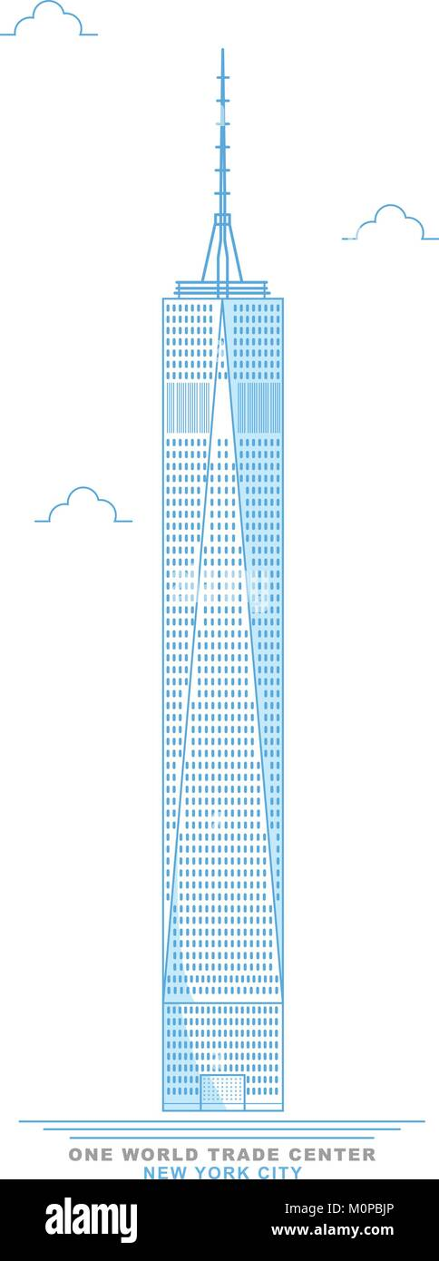 Freedom tower. One world trade center. Stylized, freehand design. New York City skyscraper. Manhattan. Usa - Stock Vector