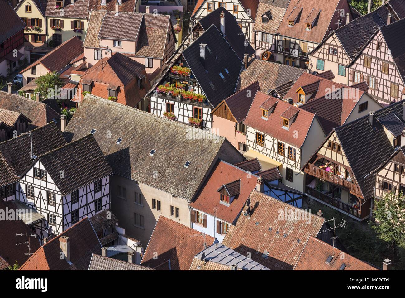 France,Haut Rhin,Route des Vins d'Alsace,Kaysersberg ,half timbered houses - Stock Image