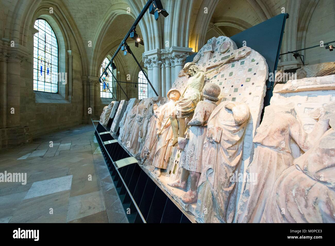 France,Cher,Bourges,Saint Etienne cathedral listed as World Heritage by UNESCO,parts of the Jube in the crypt,the Stock Photo