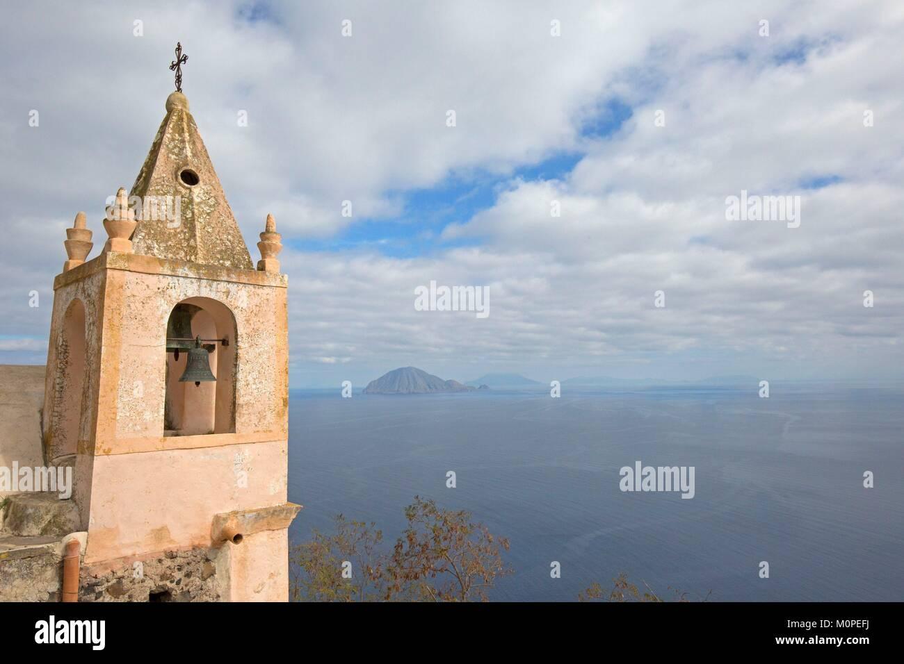 Italy,Sicily,Aeolian Islands,Alicudi Island,view on Filicudi Island and cane,Chapel Stock Photo