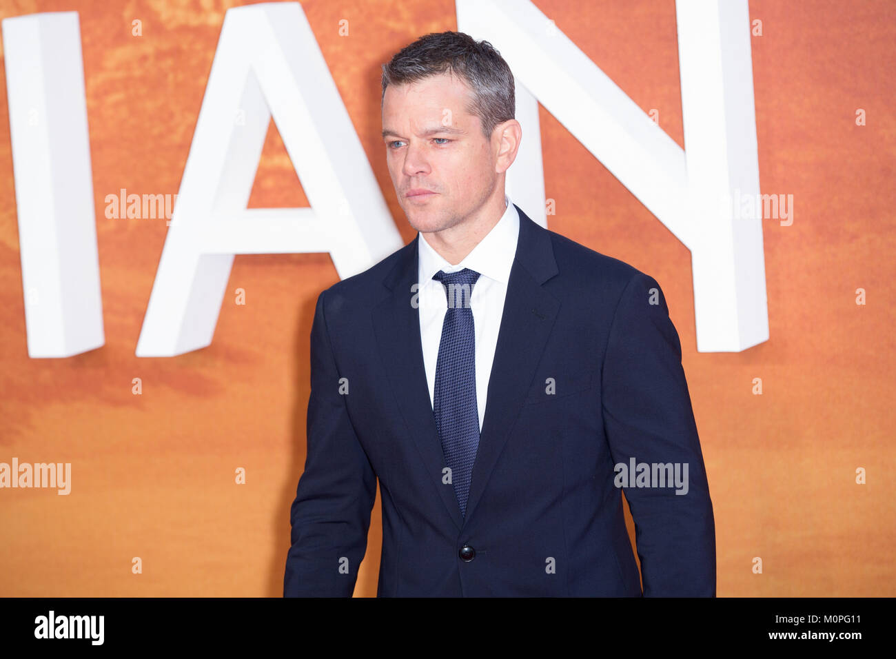 London, UK,  24 September 2015, Matt Damon , European Premiere of 'The Martian' at the Odeon Leicester Square. - Stock Image
