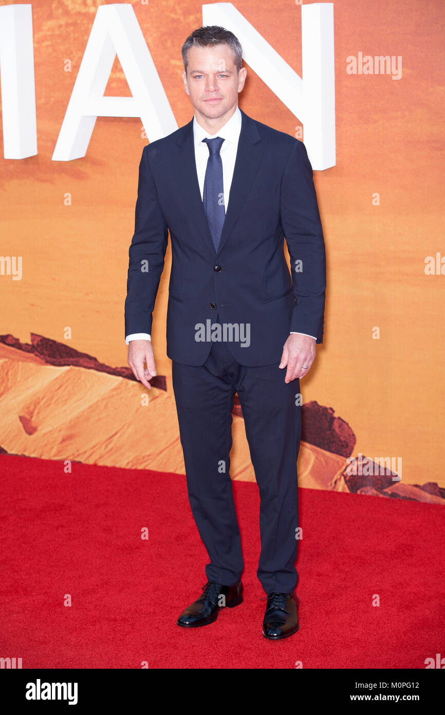 London, UK,  24 September 2015, Matt Damon , European Premiere of 'The Martian' at the Odeon Leicester Square. - Stock Image