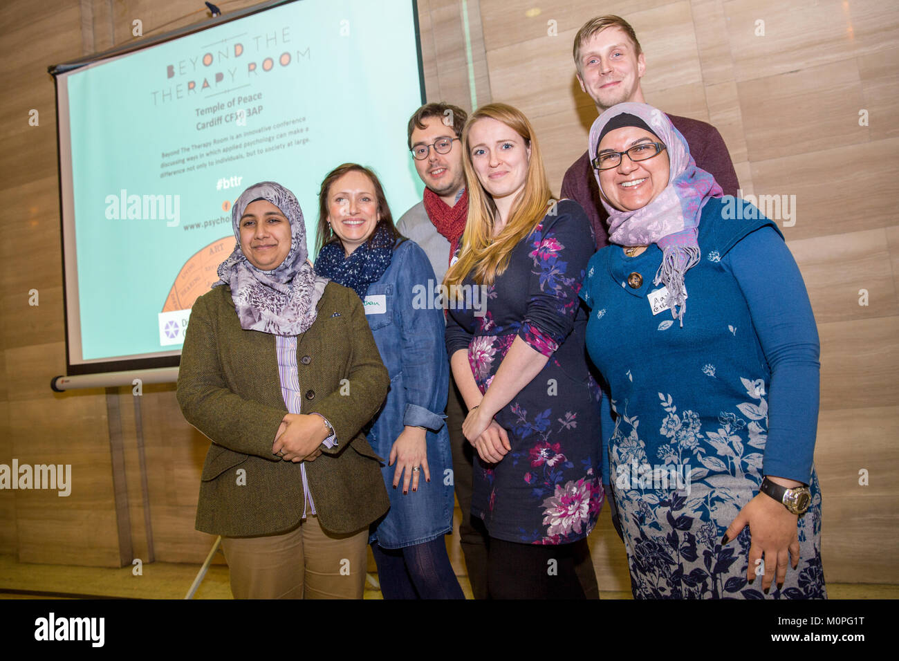 CARDIFF, UNITED KINGDOM.  19 January 2018.  Organisers of the Beyond the Thearapy Room pose for a group portrait. Stock Photo