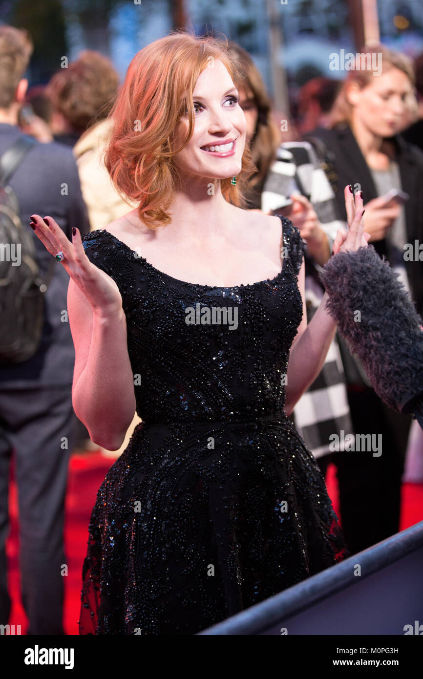 London, UK,  24 September 2015, Jessica Chastain, European Premiere of 'The Martian' at the Odeon Leicester - Stock Image