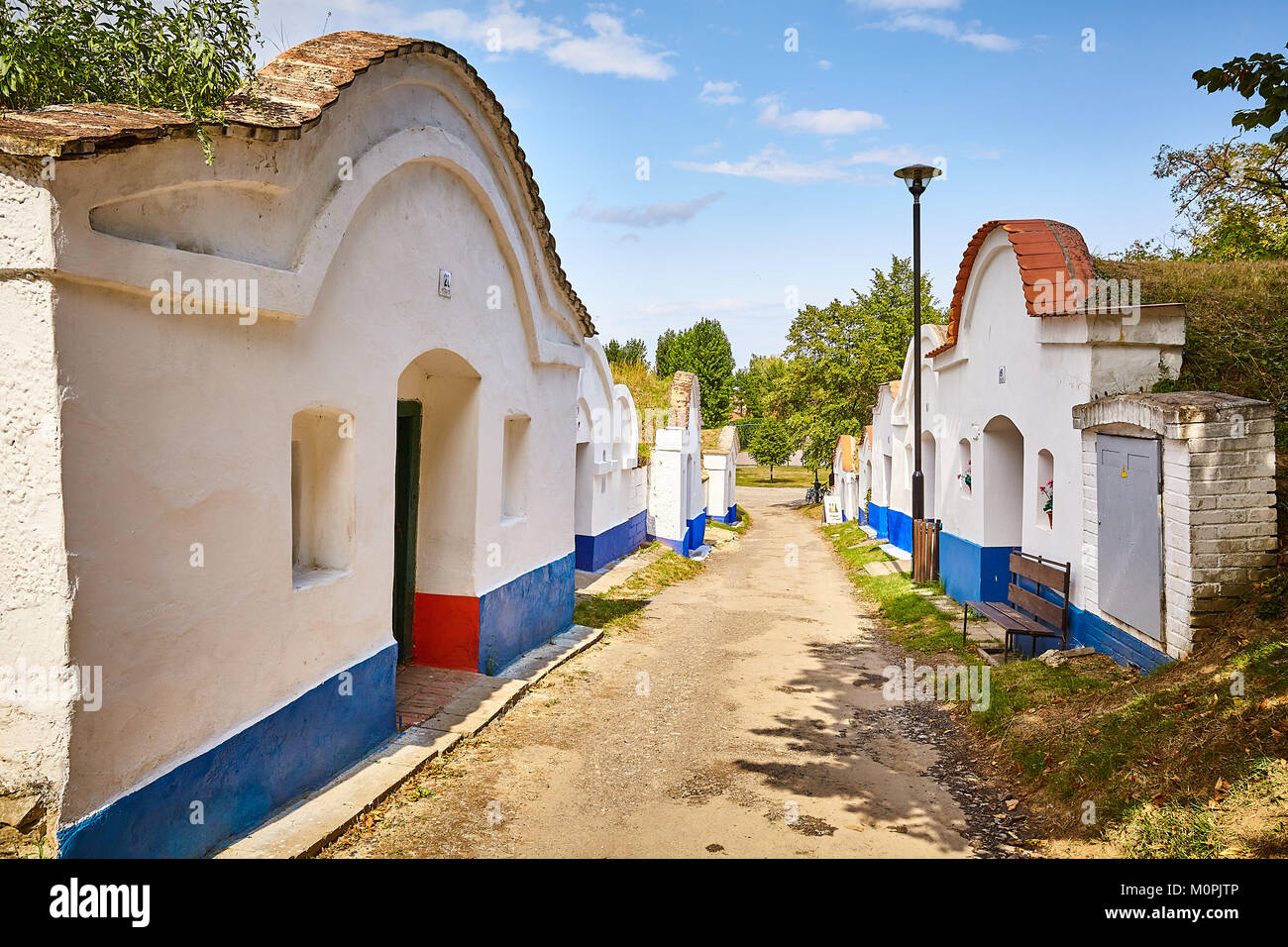 Petrov, Czech republic. 20th August, 2017. The complex of traditional wine cellars, called plže, in south moravian Stock Photo