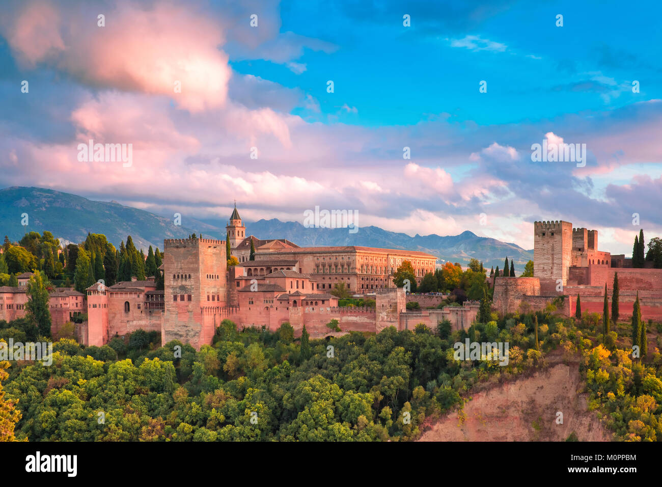 Alhambra at sunset in Granada, Andalusia, Spain - Stock Image