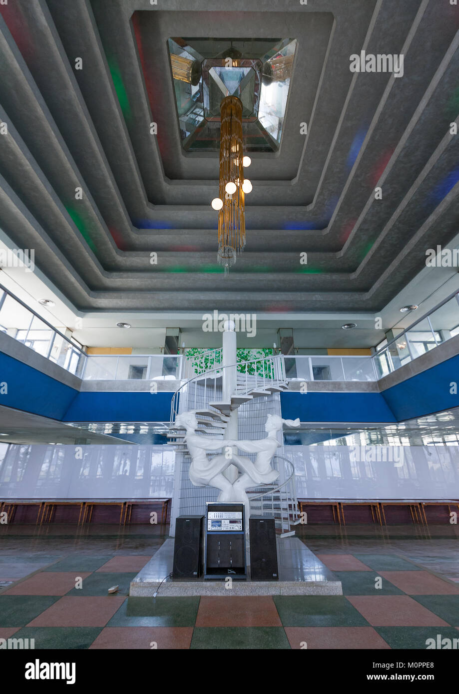 Grand hallway with staircase in Songdowon international children's camp, Kangwon Province, Wonsan, North Korea - Stock Image