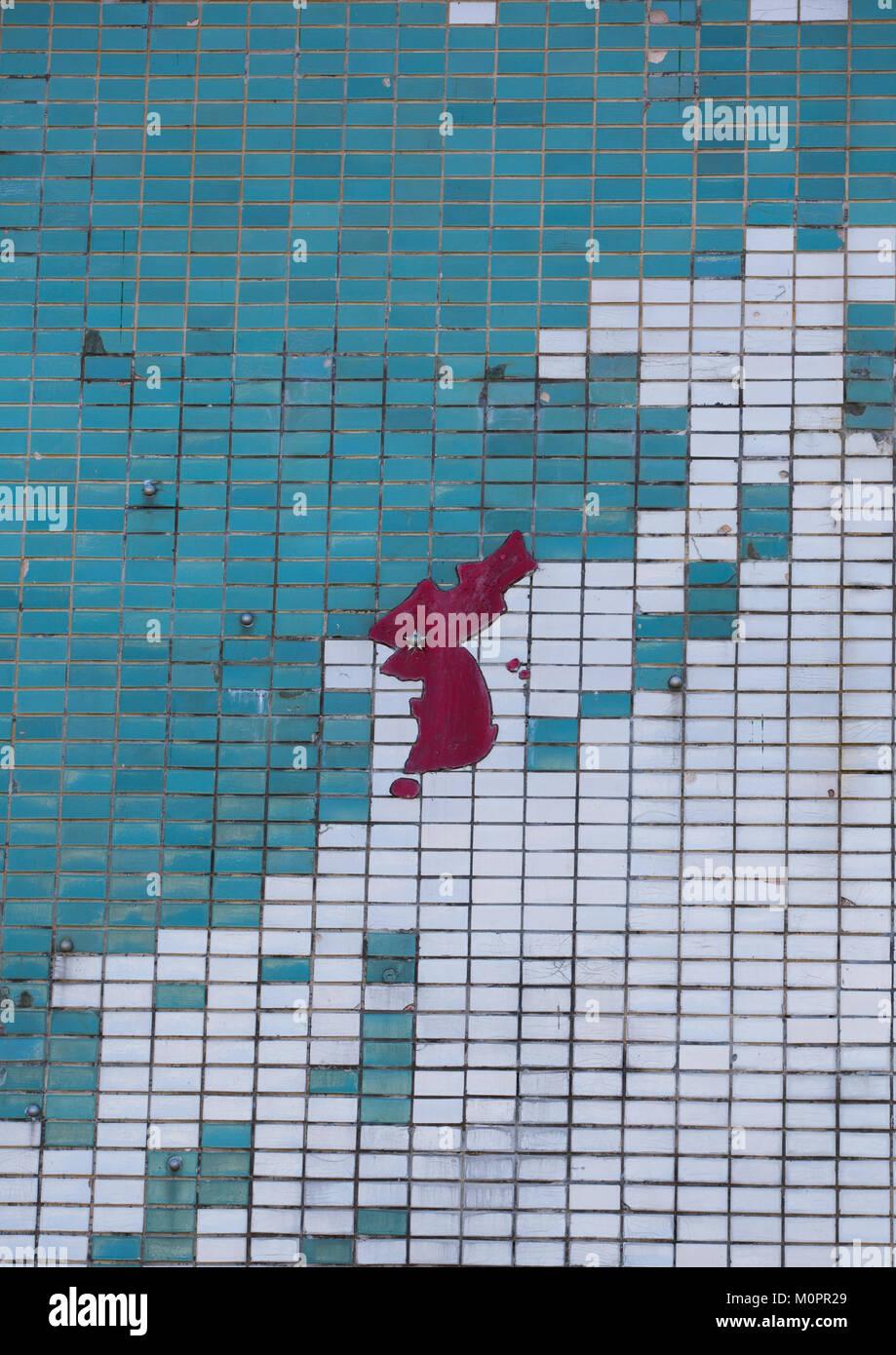 North Korea on a mosaic map of the world in Songdowon international children's camp, Kangwon Province, Wonsan, - Stock Image