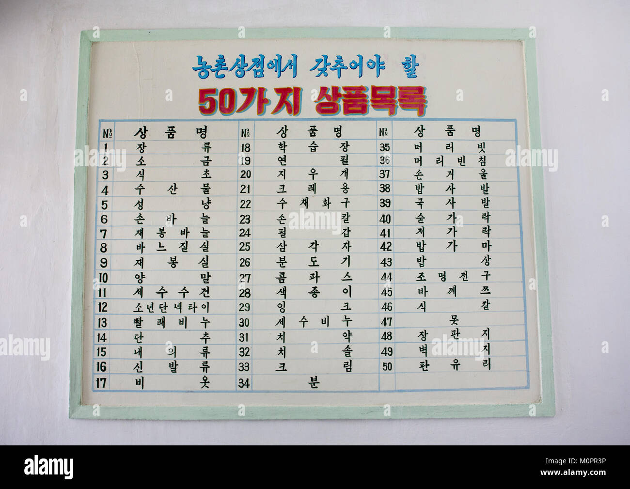 List of products sold in a North Korean shop, South Hamgyong Province, Hamhung, North Korea - Stock Image
