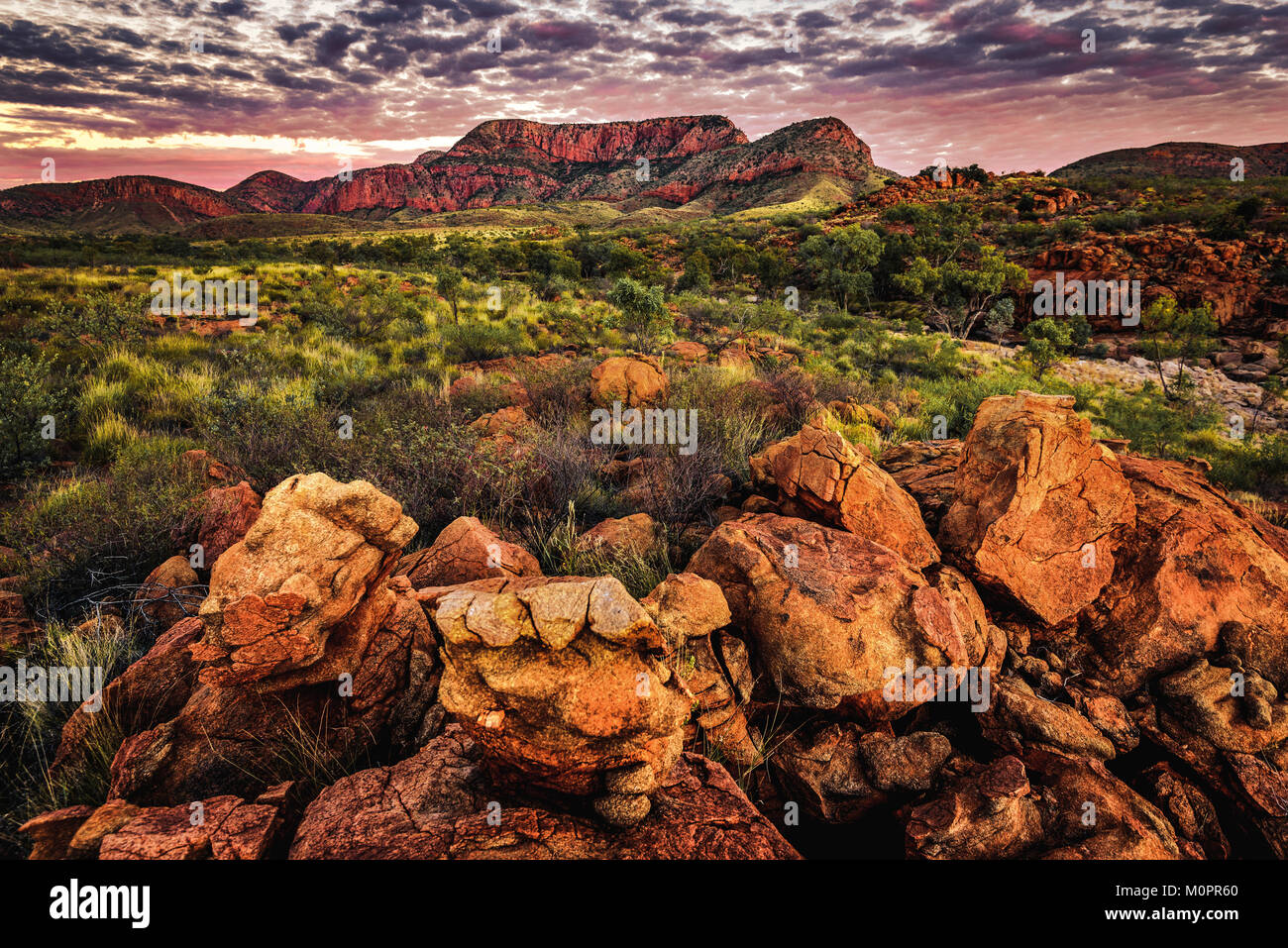 Sunset at Ormiston Pound, West Macdonnell Ranges, Northern Territory - Stock Image