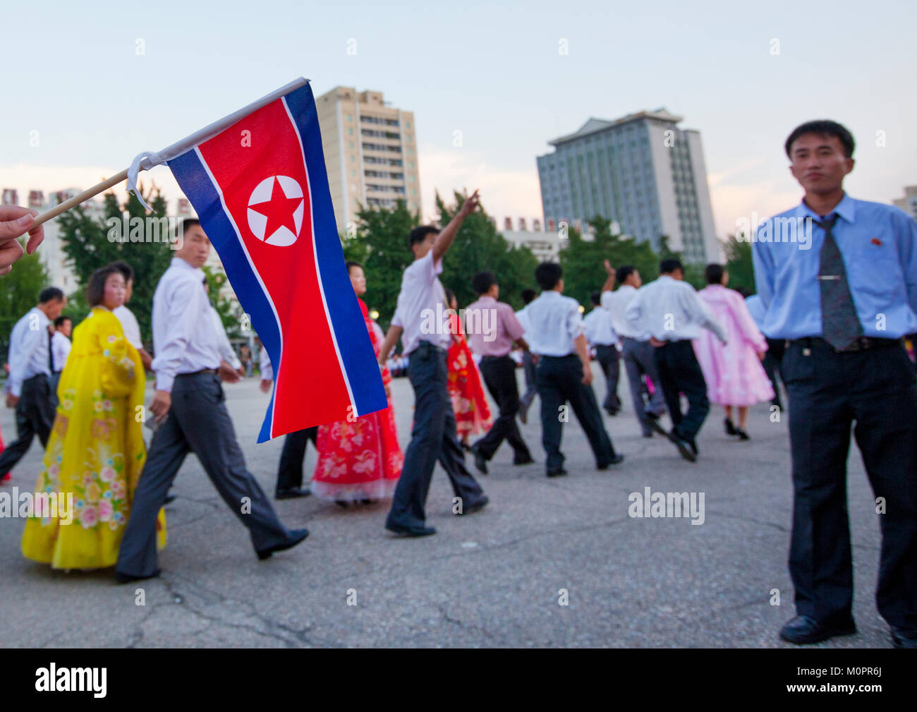 North Korean students during a mass dance performance on september 9 day of the foundation of the republic, Pyongan - Stock Image