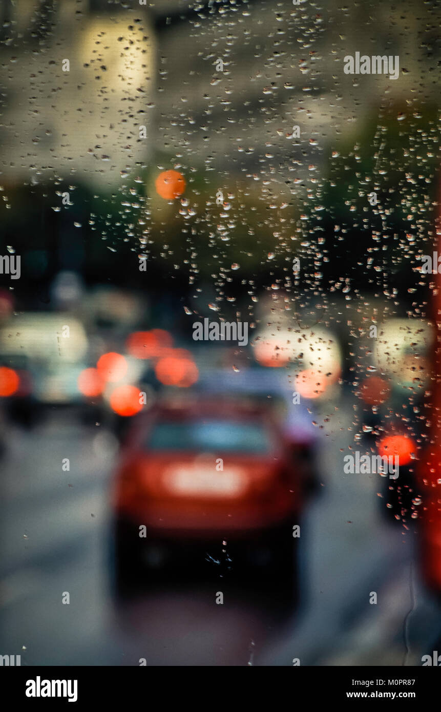 Conceptual abstract rainy day traffic - Stock Image