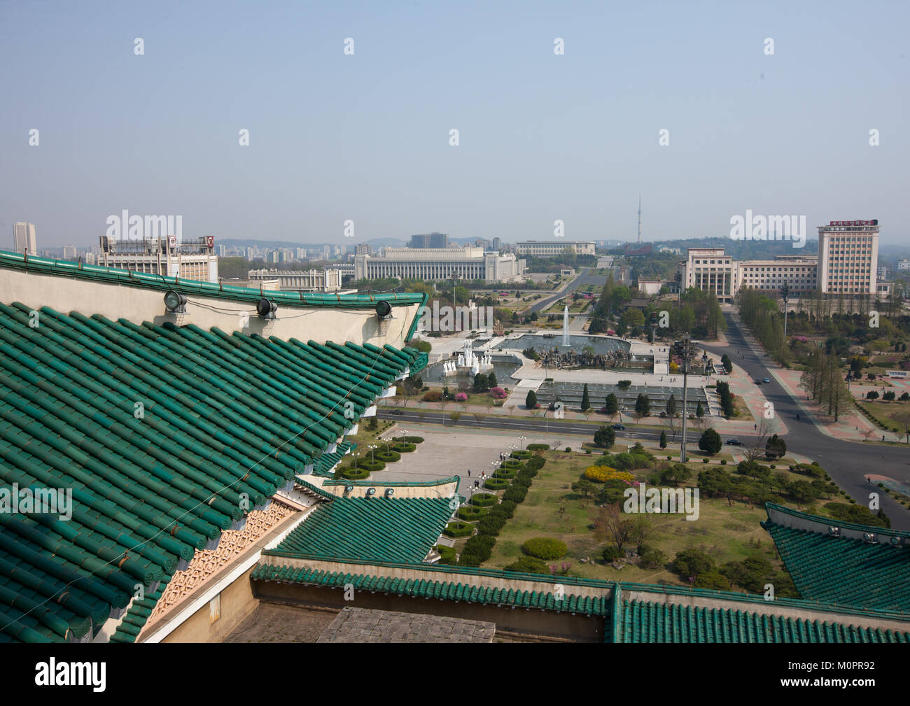 View on the city from the Grand people's study house, Pyongan Province, Pyongyang, North Korea - Stock Image