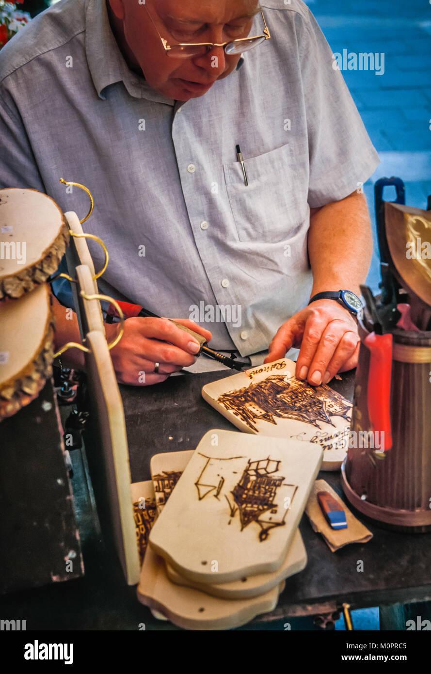 Germany, woodturning craftsman. - Stock Image