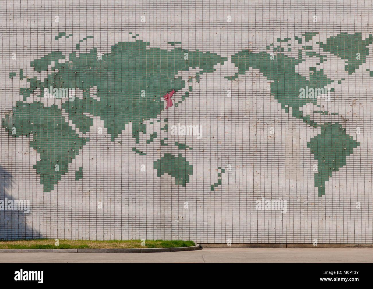 Mosaic map of the world in Songdowon international children's camp, Kangwon Province, Wonsan, North Korea - Stock Image