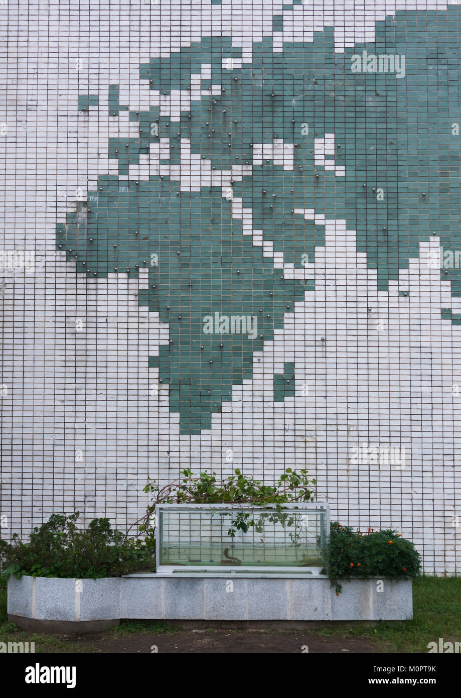 Mosaic map of the world in Songdowon international children's camp, Kangwon Province, Wonsan, North Korea Stock Photo