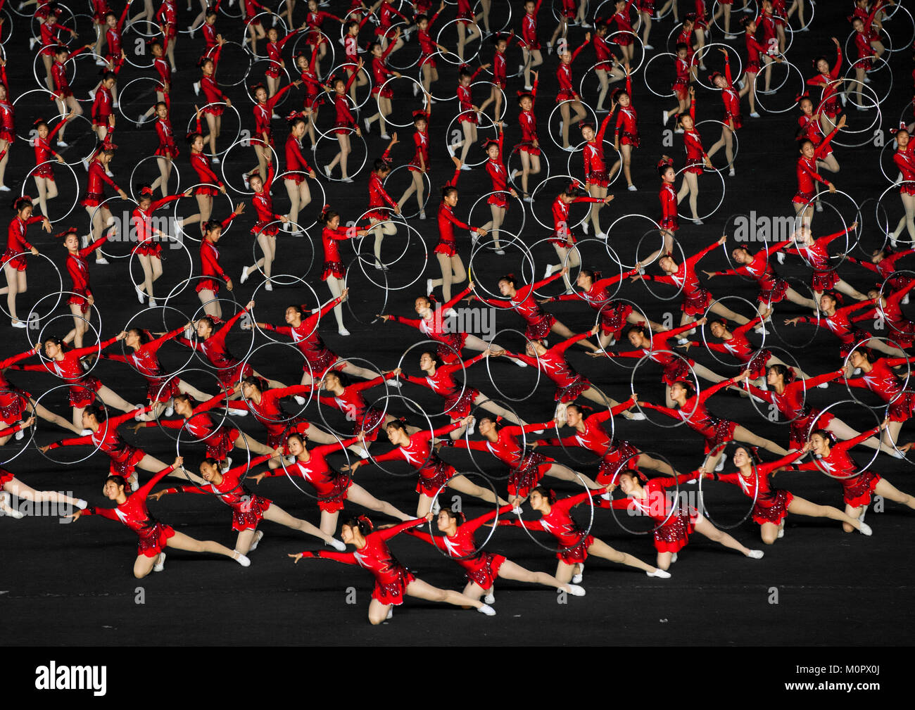North Korean gymnasts performing during the Arirang mass games in may day stadium, Pyongan Province, Pyongyang, - Stock Image