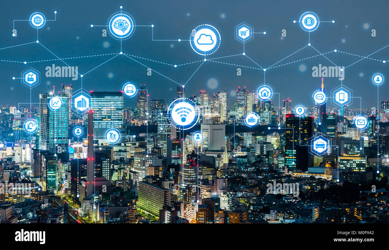 Smart city concept. IoT(Internet of Things). ICT(Information Communication Technology). - Stock Image