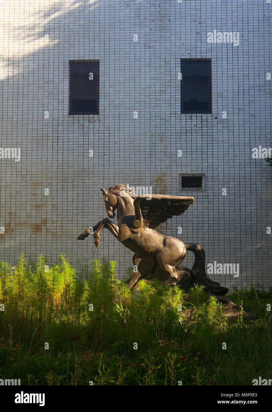 Chollima horse statue in Songdowon international children's camp, Kangwon Province, Wonsan, North Korea - Stock Image