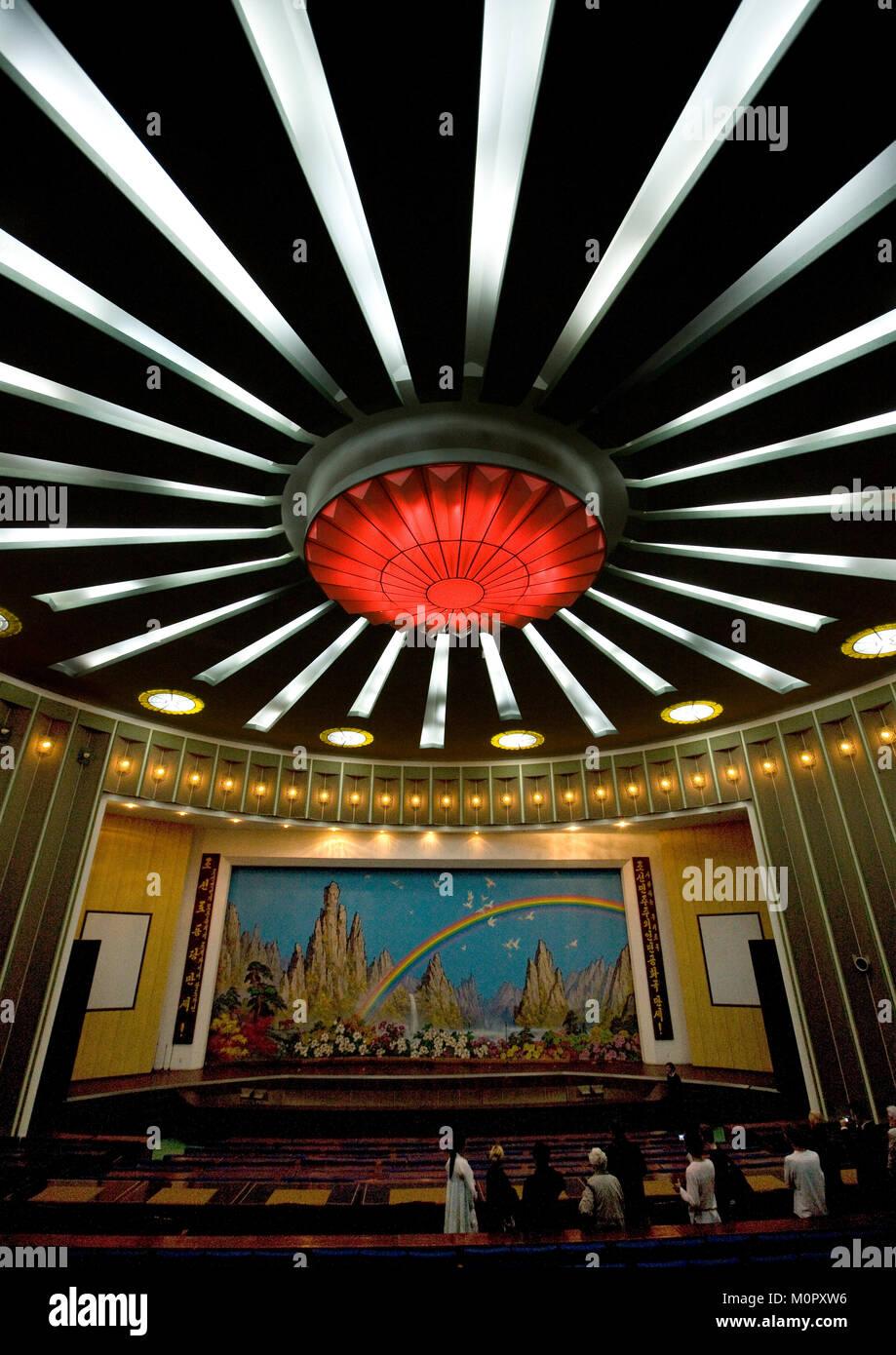 Theatre ceiling in Songdowon international children's camp, Kangwon Province, Wonsan, North Korea - Stock Image