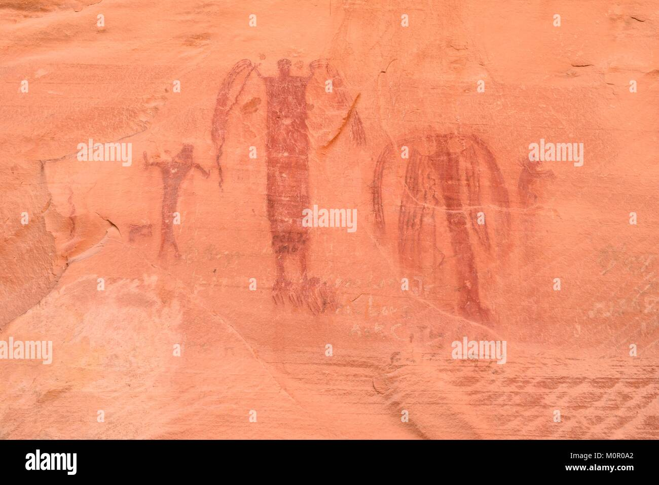 Ancient Fremont Pictograph located in Buckhorn Wash Utah - Stock Image