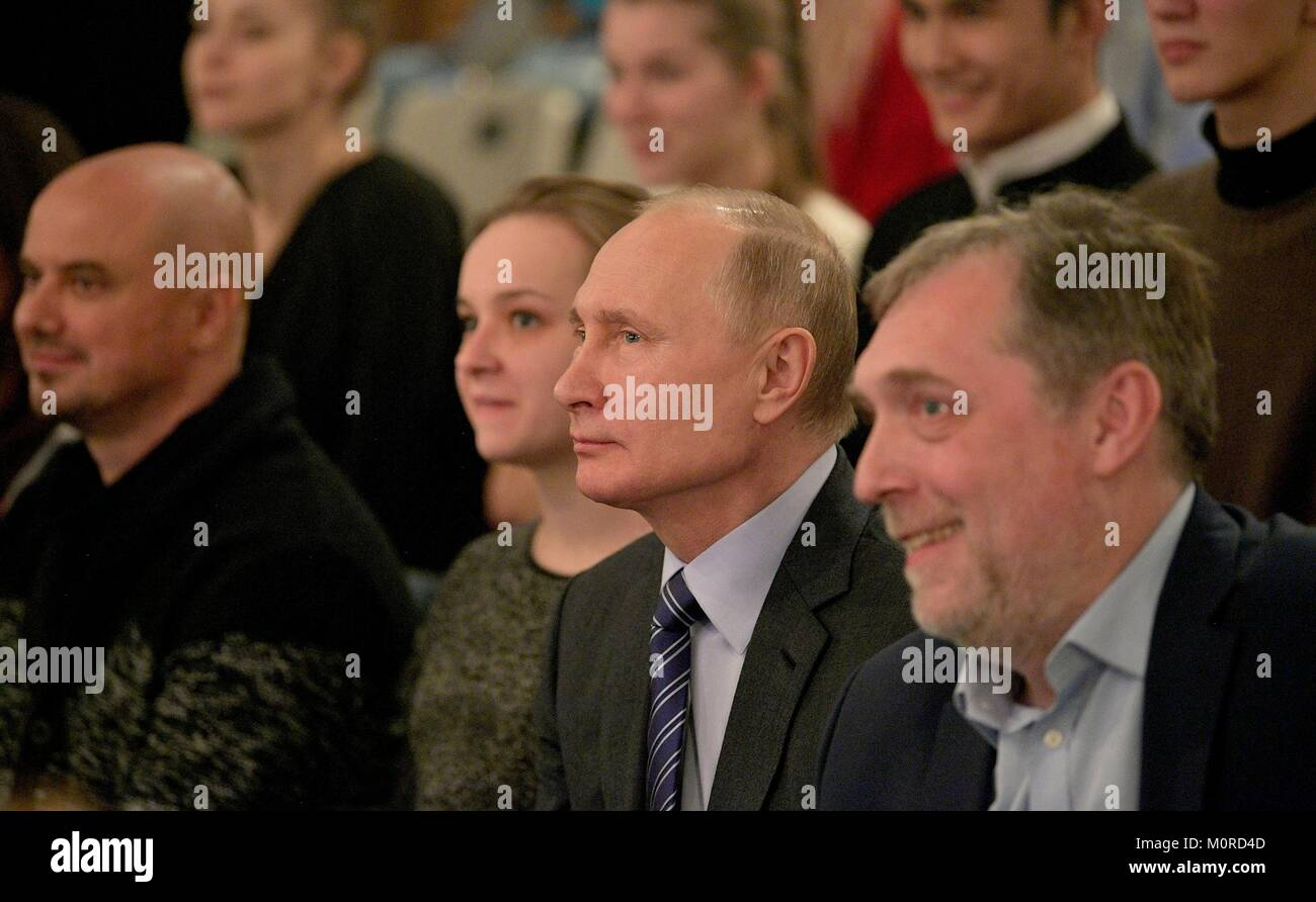 """Russian President Vladimir Putin, center, attends a rehearsal of the production """"Hello, Vladimir Vysotsky"""" at the - Stock Image"""