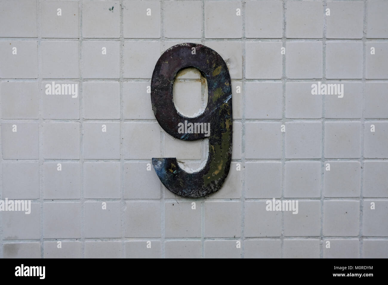 numbers, pictures of numbers taken on houses along the streets - Stock Image