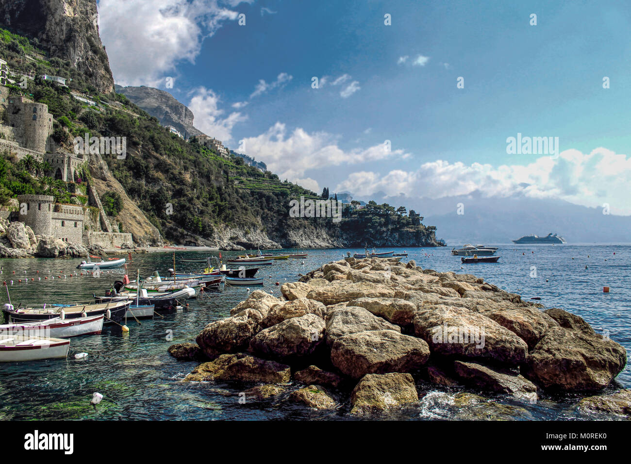 Amazing sunny day in Amalfi Coast - Conca dei Marini Beach - Stock Image