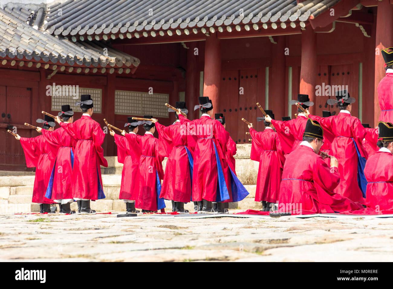 1 November 2014, Seoul, South Korea: Jerye ceremony held twice per year in Jongmyo Shrine to worship the Confucian - Stock Image