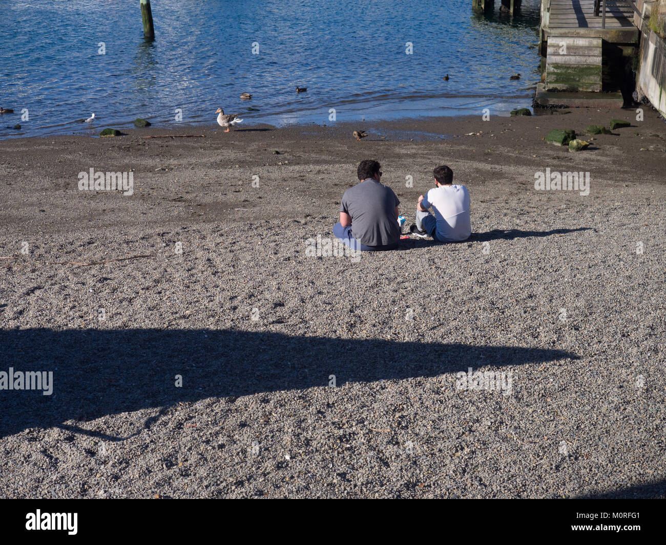 Two People Sitting On The Beach - Stock Image