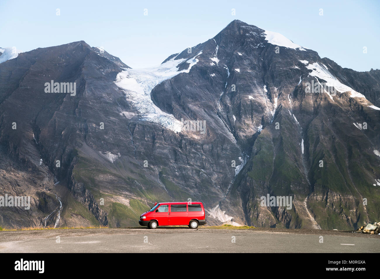 Austria, Salzburg State, VW Bus parked at Grossglockner High Alpine Road - Stock Image